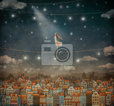 Illustration de mignon, Maisons, joli, girl, nuit, ciel