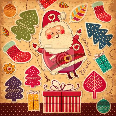 Illustration de Noël avec le père noël drôle