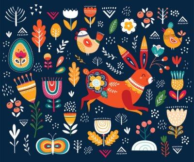 Illustration de printemps avec lapin drôle et éléments floraux décoratifs