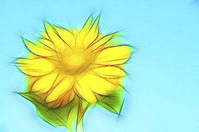 Image Illustration de tournesol jaune sur bleu