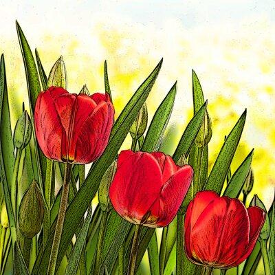 Image Illustration de tulipes rouges