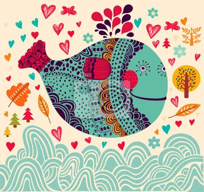 Illustration de vecteur de bande dessinée avec des baleines