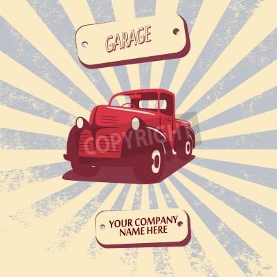Image Illustration de vecteur de voiture de camionnette rétro vintage approprié à la promotion, des conceptions de t-shirt, etc.