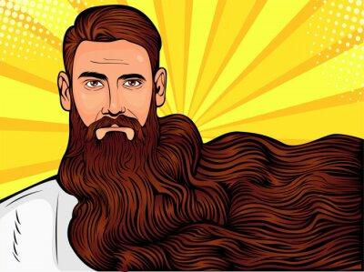 Image Illustration de vecteur pop art d'un homme barbu brutal, macho avec une très longue barbe sur toute l'image