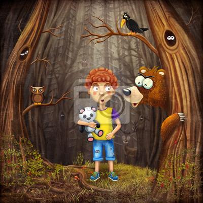 Illustration, Garçon, debout, forêt
