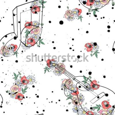 Image Illustration graphique de vecteur transparente motif de notes de musique de guitare, fleurs feuilles encre splotch splotch branche, splodge, spray style de dessin dessin doodle Silhouette artistique a