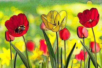 Image Illustration, lit, tulipes