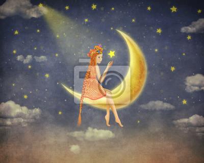Illustration, mignon, girl, séance, lune, nuit ...