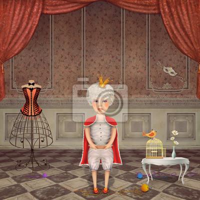 Illustration, mignon, roi, vendange, salle