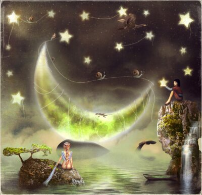 Image Illustration montre l'île de conte de fées dans le ciel
