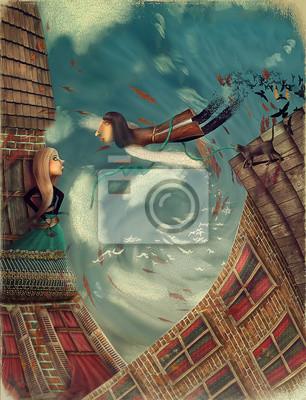 Illustration montre un homme dans sky.He se développe en un bird.A fille se dresse sur un balcon et regarde dans le ciel