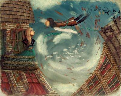 Image Illustration montre un homme dans sky.He se développe en un bird.A fille se dresse sur un balcon et regarde dans le ciel