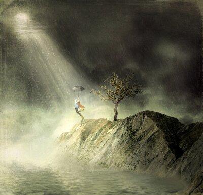 Illustration montre une fille sur la montagne de.Une fille avec un parapluie danse sous la pluie