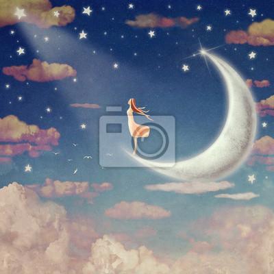 Illustration, nuit, ciel, nuages, lune, étoiles, fond, art