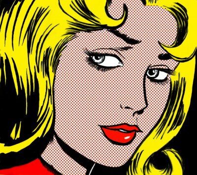 Image illustration of a girl face in the style of 60s comic books, pop art