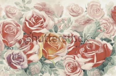 Image Illustration peinte printemps fleurs colorées bouquet de roses dans le jardin et émotion dans réaliste vintage avec fond bleu abstrait, peinture originale paysage aquarelle, pour les cartes de voeux.
