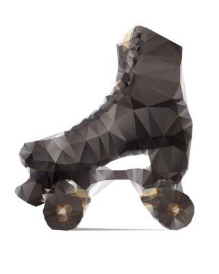 Image Illustration polygonale de patins à roulette noir isolé