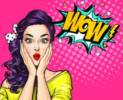 Image Illustration pop art, fille surprise. Femme comique. Wow.Adendette publicitaire. Pop Art girl. Invitation à la fête.