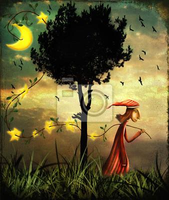 Illustration, projection, magicien, rassemblement, étoiles, forêt