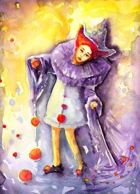 Image illustration représentant un clown ballons suspendus