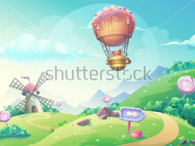 Image Illustration vectorielle d'un paysage avec des bonbons à la confiture et le renard dans le dirigeable. Pour imprimer, créer des vidéos ou des graphismes Web, une interface utilisateur, une