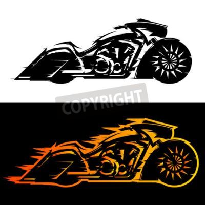 Image Illustration vectorielle de Bagger style moto, moto personnalisée Baggers couverte de flammes