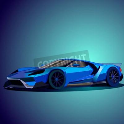 Image Illustration vectorielle de la nouvelle voiture de sport bleue.