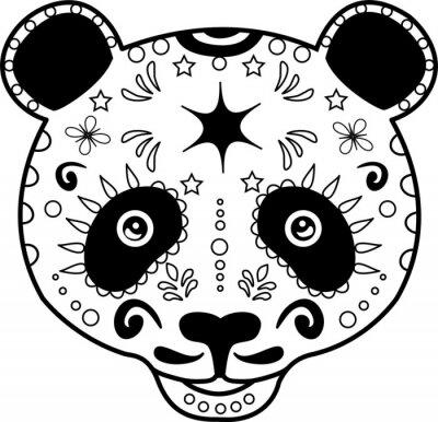 Image illustration vectorielle de la tête un panda noir et blanc