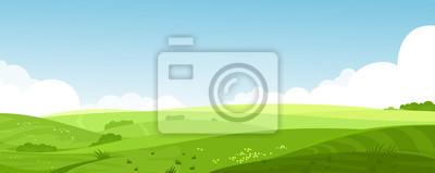 Image Illustration vectorielle de paysage de champs d'été belle avec une aube, collines verdoyantes, ciel de couleur bleu clair, fond de pays dans la bannière de style cartoon plat.