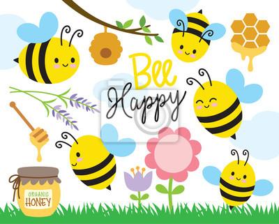Image Illustration vectorielle des abeilles mignonnes et miel.