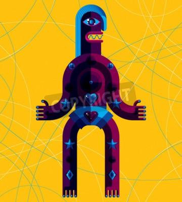 Image Illustration vectorielle graphique, caractère anthropomorphique isolé sur fond d'art, avatar moderne décoratif fait en style cubisme.