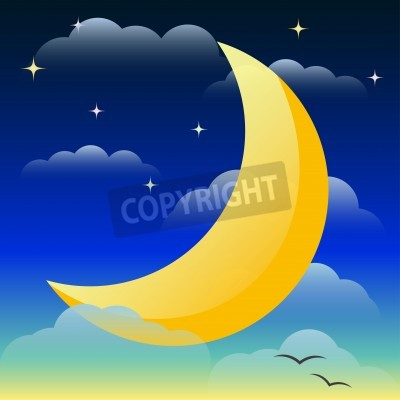 Illustration with bright yellow lighting moon floating in the night sky among the clouds and stars for use in design for card, invitation, poster, banner, placard or billboard cover