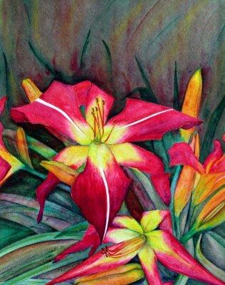 Image Illustrations en acrylique de fleurs lumineuses. Fleurs jour lys.