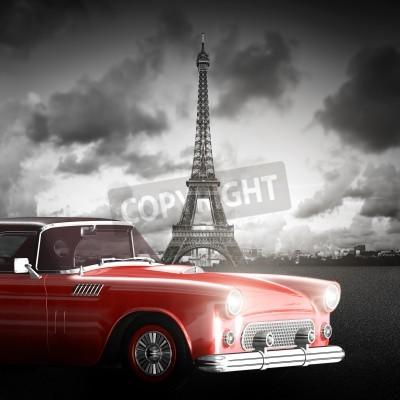 Image Image artistique de la Tour Eiffel, Paris, France et voiture rouge rétro.