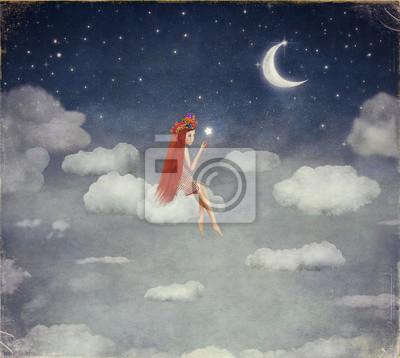 Image, jeune, femme, nuage, lit, étoile, nuit, ciel