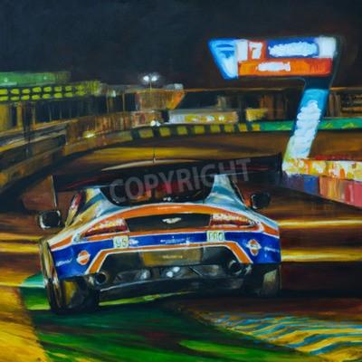 Image Image peinte à la main de la voiture de course conduisant la nuit à haute vitesse dans le circuit. Illustration créée avec de l'acrylique