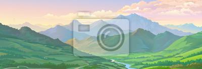 Image Image vectorielle réaliste du paysage de montagne et une rivière à travers les champs verts.