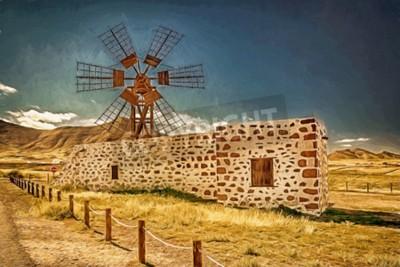 Image Impression d'un moulin à vent à Fuerteventura, îles Canaries, Espagne