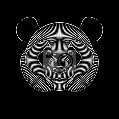 Dessin Au Trait Noir impression graphique de panda géant sur fond noir. dessin au