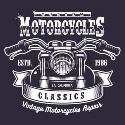 Image Impression vintage moto. Monochrome sur fond sombre