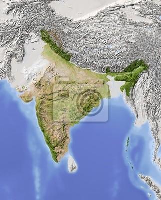 Carte Inde Relief.Image Inde Carte En Relief Ombre Couleur De La Vegetation