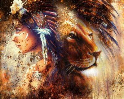 Image indian woman wearing  feather headdress with lion and abstract color collage