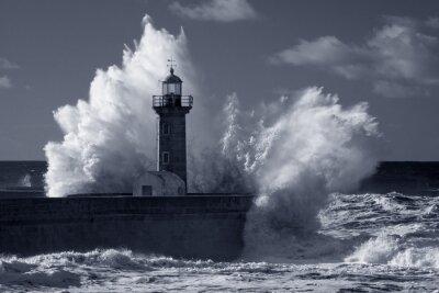 Image Infrarouge, vieux, phare, lourd, tempête