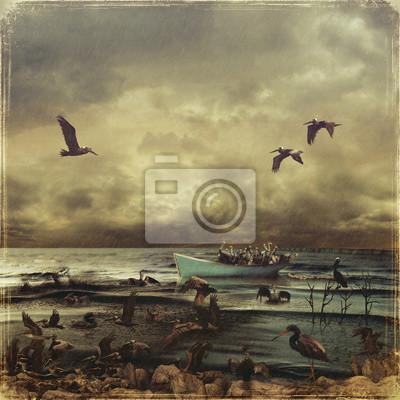 Inondation de pétrole dans la mer. Sauvetage de pélicans