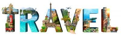 Image Inscription de voyage. Collage de lieux célèbres du monde. Élément pour publicité, carte postale, affiche, etc. Isolé sur blanc.