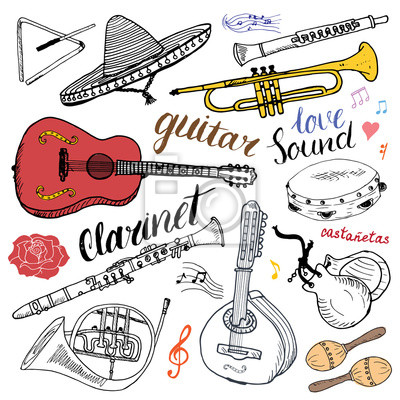 Dessin De Music instruments de musique. dessin tiré à la main, illustration