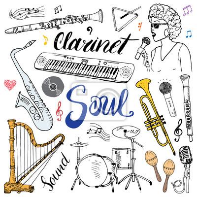 Dessin De Music instruments de musique. dessin tiré à la main, illustration