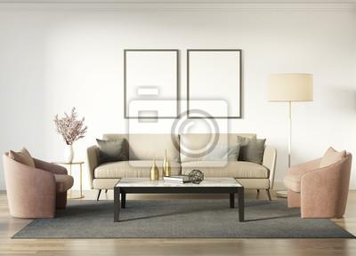 Intérieur chic contemporain avec un canapé beige foncé et des ...