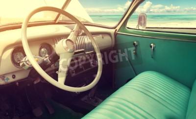 Image Intérieur, classique, vendange, voiture, -parked, mer, été