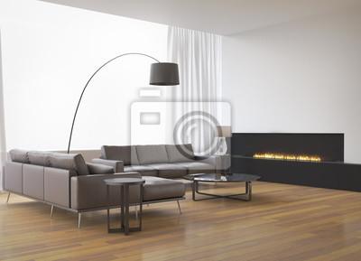 Image: Intérieur contemporain, canapé avec cheminée